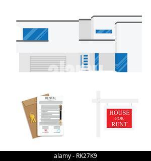 Rental agreement concept. Rental agreement, keys, pen and house. Vector illustration - Stock Photo