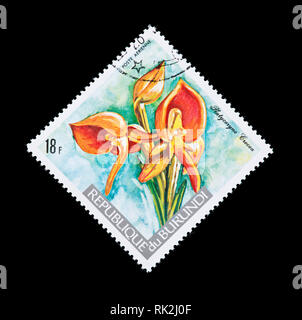 Postage stamp from Burundi depicting an orchid (Platycoryne crocea) - Stock Photo