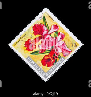 Postage stamp from Burundi depicting a CHristmas orchid (Cattleya trinaei) - Stock Photo