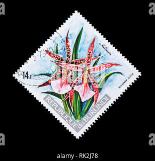 Postage stamp from Burundi depicting a Miltassia orchid - Stock Photo