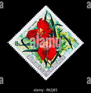 Postage stamp from Burundi depicting a Miltonia orchid - Stock Photo