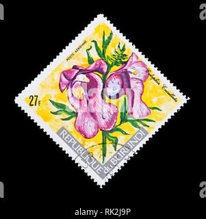 Postage stamp from Burundi depicting a foxglove orchid (Eulophia cucullata) - Stock Photo