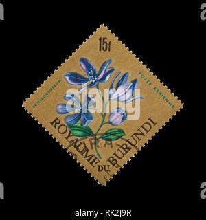 Postage stamp from Burundi depicting a schizoglossum sp. flower - Stock Photo