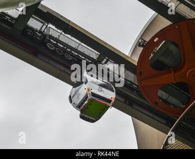 Langkawi, Malaysia - Apr 30, 2018. Cable car at Langkawi SkyCab Station. SkyCab carrying passengers to Langkawi Sky Bridge. - Stock Photo