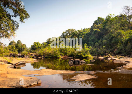 Cambodia, Koh Kong Province, Chi Phat, Chhay Chrei, Bodhi Tree Rapids on Piphot River in dry season - Stock Photo