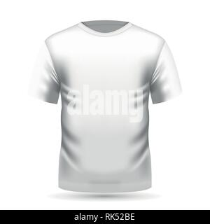 Mens white t-shirt with short sleeve in front view. Vector illustration, EPS 10 - Stock Photo
