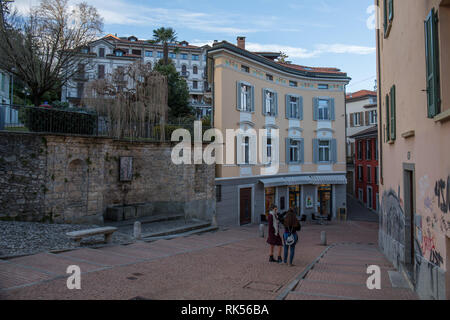 Old houses and shops in the city centre of Lugano - Stock Photo