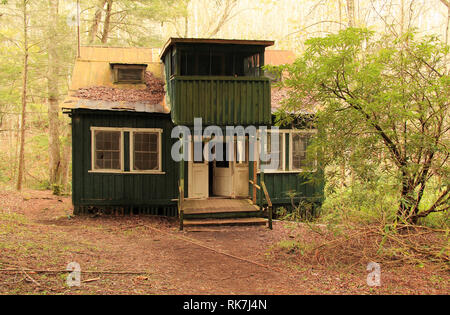 The Elkmont historic district in Great Smokey Mountains National Park is notable for several rustic cabins preserved by the National Park Service - Stock Photo