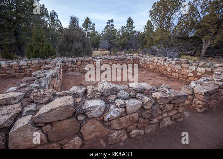 Ruins in Walnut Canyon National Monument,  Arizona, USA - Stock Photo