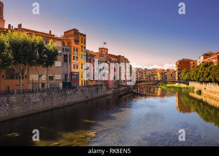 Girona. Multi-colored facades of houses on the river Onyar. Catalonia, Spain - Stock Photo