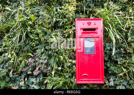 Red Victoria Regina Royal Mail postbox - Stock Photo