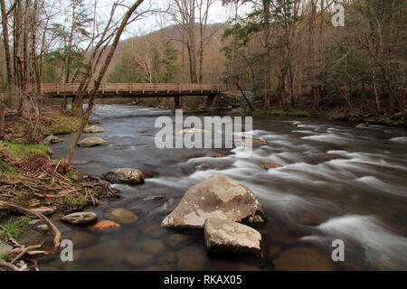 Partially located in Great Smokey Mountains National Park, the Little River offers some of the most splendid scenery in the southeastern United States - Stock Photo