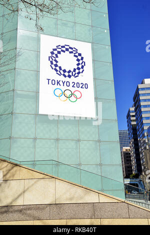 Advertisement sign and logo for the 2020 Summer Olympic Games which will be hosted by Japan in Tokyo - Stock Photo