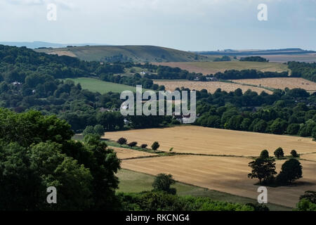 View from the top of Cissbury Ring looking North West towards Black patch hill and Harrow Hill - Stock Photo