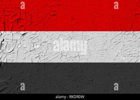 yemen painted flag - Stock Photo