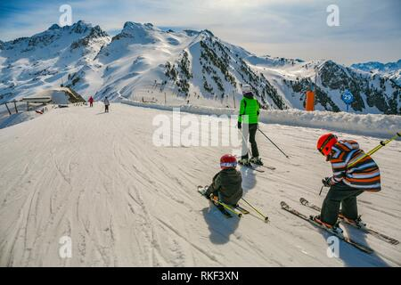 Luz Ardiden. Ski resort. Luz-Saint Sauveur. Hautes-Pyrenees Department. Midi-Pyrenees Region. France. - Stock Photo