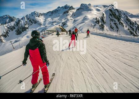 Luz Ardiden. Ski resort. Luz-Saint Sauveur. Hautes-Pyrenees Department. Midi-Pyrenees Region. France. - Stock Photo