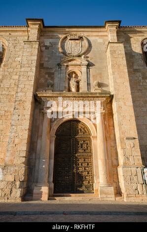 Detail of the facade and door of San Pedro church in Lerma, burgos, Spain. - Stock Photo