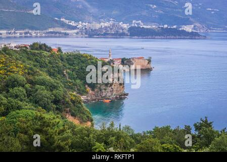 Aerial view from Mogren Fortress with Old Town in Budva city on the Adriatic Sea coast in Montenegro. - Stock Photo