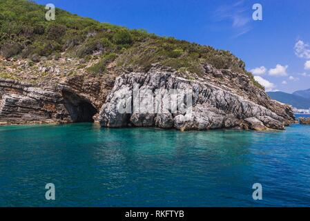 Cave of Sveti Nikola Island on the Adriatic Sea near Budva city in Montenegro. - Stock Photo