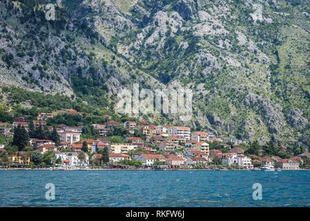 Coastline of Dobrota, small town near Kotor in Bay of Kotor, Adriatic Sea in Montenegro. - Stock Photo