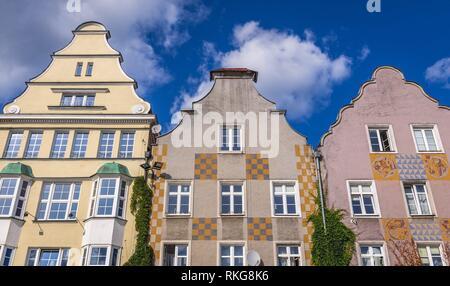 Tenement houses on the Old Town market square in Olsztyn city in Warmian-Masurian Voivodeship of Poland. - Stock Photo
