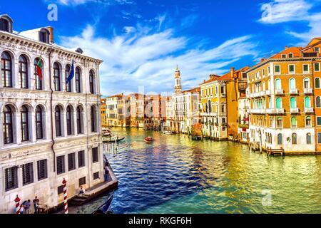 Colorful Grand Canal From Rialto Bridge Touirists Grand Canal Venice Italy. - Stock Photo