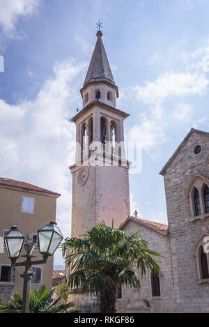 Roman Catholic Cathedral of Saint John the Baptist on the Old Town of Budva city on the Adriatic Sea coast in Montenegro. - Stock Photo