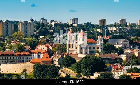 Sunset Sunrise Cityscape Of Vilnius, Lithuania In Summer. Beautiful Panoramic View Of Old Town In Evening. View From The Hill Of Upper Castle. - Stock Photo