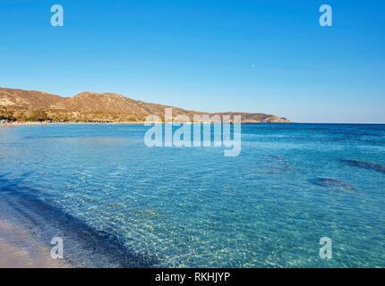 Clear blue water, Elafonisi beach, Crete, Greece - Stock Photo