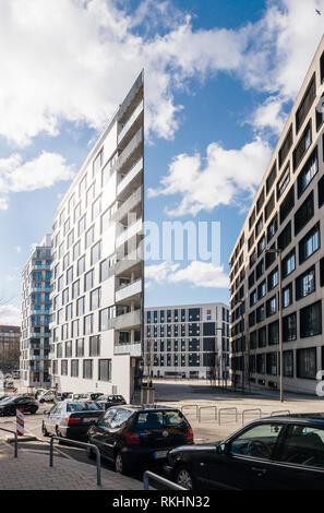 HAMBURG, GERMANY - MAR 20, 2018: Modern Hamburg Architecture and Ibis hotel in the background - Stock Photo