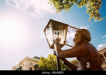 Statue Of Old Lamplighter, Igniting Lights On Streets Of Tbilisi - The Capital Of Georgia. - Stock Photo