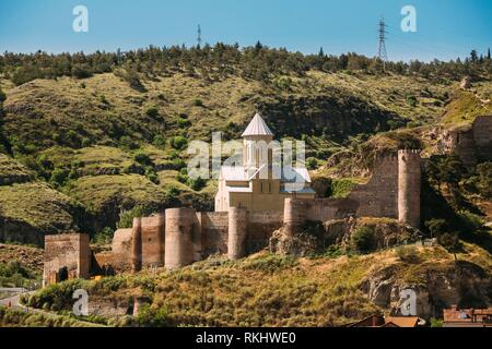 Scenic View Of Impregnable Fortress Narikala Fortress And Church Of St. Nicholas In Tbilisi, Georgia. - Stock Photo