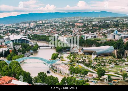 Tbilisi, Georgia. Summer Aerial View, Top Cityspape View Of Center. Famous New Modern Landmarks Justice House, Bridge Of Peace, Concert Hall, Rike - Stock Photo