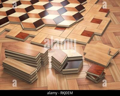 Stack ofr parquet wooden planks. Few types of wooden parquet coating. 3d illustration. - Stock Photo
