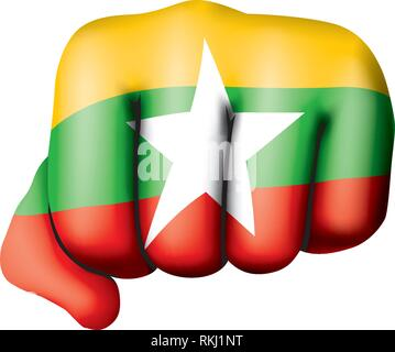 Myanmar flag and hand on white background. Vector illustration - Stock Photo