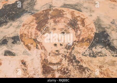 Ninotsminda Village, Kakheti Region, Georgia. Ancient Frescoes In Walls Of Ruins Of Old Church Monastery Of Saint Nino, Ninotsminda Near Sagarejo. - Stock Photo