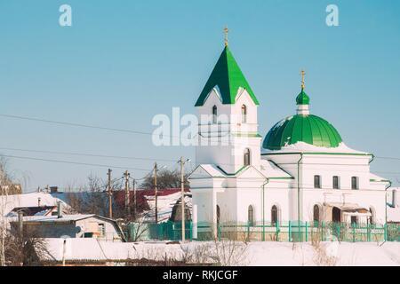 Gomel, Belarus. Church Of St Nicholas The Wonderworker In Sunny Winter Day. Orthodox Church Of St. Nikolay Chudotvorets. - Stock Photo
