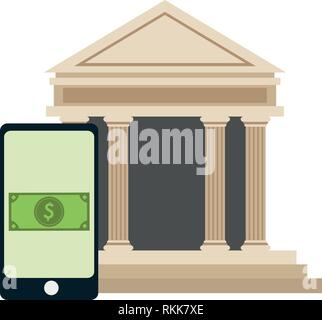 smartphone online payment and bank building - Stock Photo