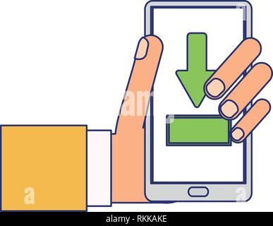 downloading from smartphone symbol blue lines - Stock Photo