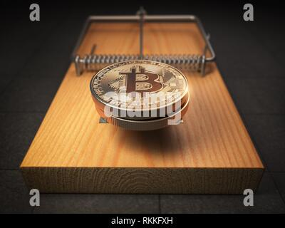 Bitcoin BTC coins in the mousetrap. Financial invetsment risk concept. 3d illustration. - Stock Photo