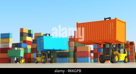 Forklift trucks with cargo containers in storage area. Delivery or shipping background concept. 3d illustration. - Stock Photo