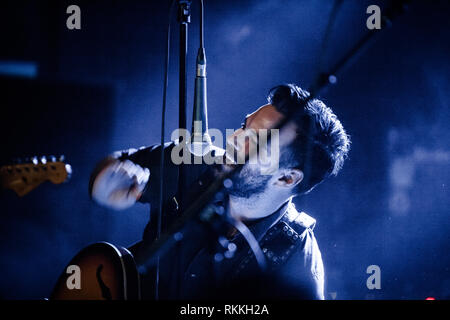 The American band The Lone Bellow performs a live concert at VEGA in Copenhagen. Here singer and musician Zach Williams is seen live on stage. Denmark, 05/02 2016. EXCLUDING DENMARK. - Stock Photo