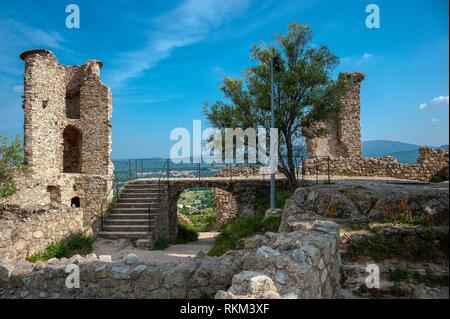 Ruine of the castle Grimaud, Grimaud-Village, Var, Provence-Alpes-Cote d`Azur, France, Europe. - Stock Photo