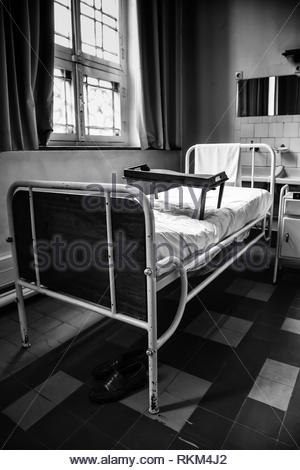Antique hospital stretcher, bed detail for patients. - Stock Photo