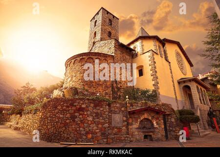 Sant Esteve church in Andorra la Vella at Pyrenees. - Stock Photo