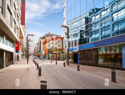 Andorra la Vella commercial area street in Pyrenees. - Stock Photo