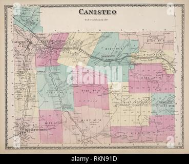 Canisteo [Township]. D.G. Beers & Co. (Author). Atlases of the United States New York Atlas of Steuben County, New York : from actual surveys and - Stock Photo