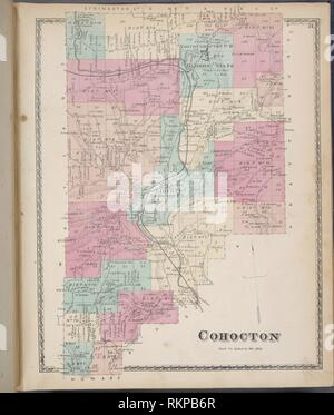Cohocton [Township]. D.G. Beers & Co. (Author). Atlases of the United States New York Atlas of Steuben County, New York : from actual surveys and - Stock Photo