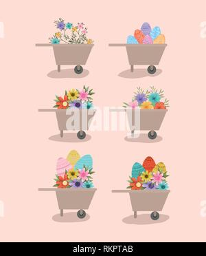 group of wheelbarrows with flowers and eggs painted - Stock Photo